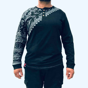 men's black long sleeved grandpa t-shirt wth maori design - kia-kaha new zealand