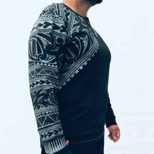 Load image into Gallery viewer, men's black long sleeved grandpa t-shirt wth maori design - kia-kaha new zealand