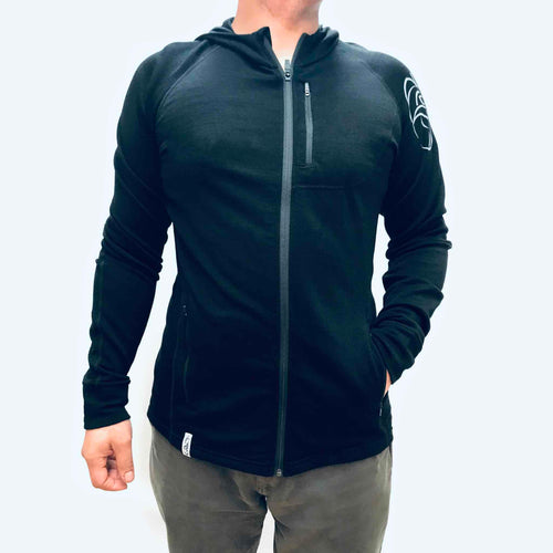 Men's black merino Kia Kaha nz hoodie with ram print
