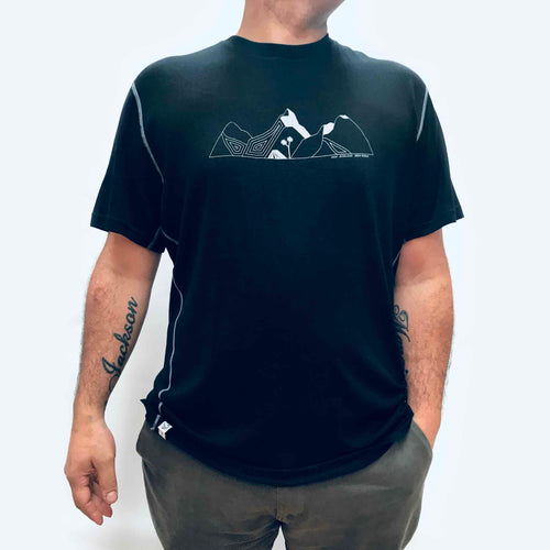 Men's black merino t shirt with mountain print, kia kaha nz