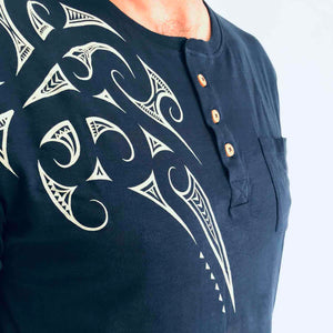 men's navy grandpa t-shirt wth maori design - kia-kaha new zealand