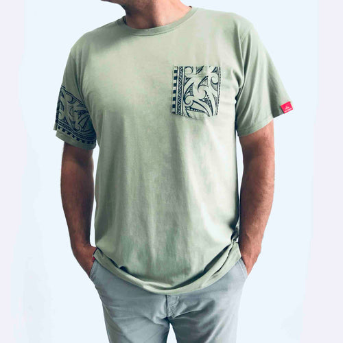 men's sage new zealand t-shirt wth maori design sleeve and pocket print - kia-kaha nz
