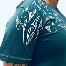 Load image into Gallery viewer, men's teal t-shirt wth maori ngaru design print - kia-kaha new zealand