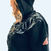 Load image into Gallery viewer, women's black hoodie wth maori design - kia-kaha new zealand