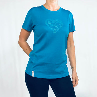 Women's blue merino tee with heart print. www.kiakaha.co.nz