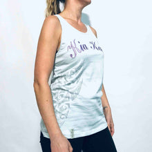 Load image into Gallery viewer, Women's baby blue cotton singlet with appliqué logo and side print. www.kiakaha.co.nz