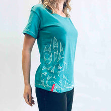 Load image into Gallery viewer, women's jade green new zealand t-shirt wth maori ngaru design - kia-kaha nz