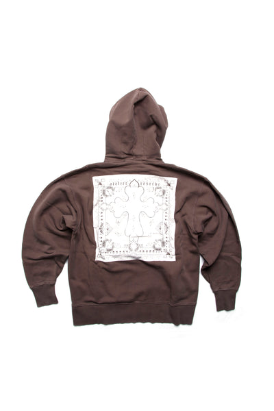 Box Hoodie Bandana Back Washed Brown