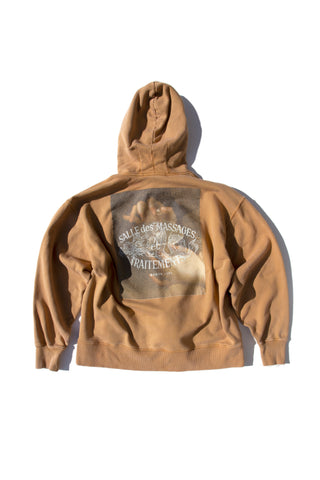 Box Hoodie Massage Washed Goldenbrown