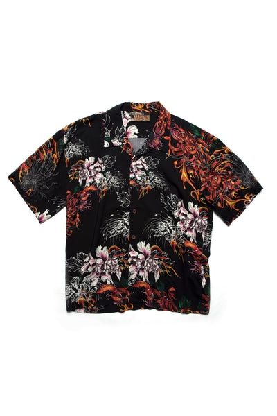 Hawaii Shirt Fire Black