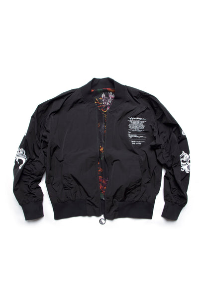 Reversible Bomber Crew Logo Fire Black