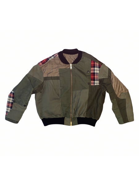 "Vintage Re-cut Bomber LV - Dragon Army Green. ""ONE-OF-A-KIND"""