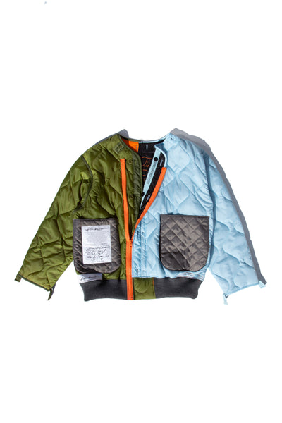 re-cut bomber-liner blue green