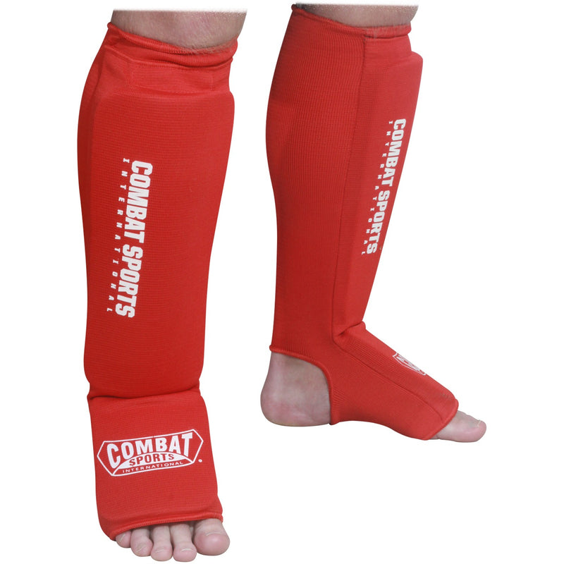 Combat Sports Washable MMA Elastic Cloth Shin & Shin Instep Padded Guards - Full Contact Sports