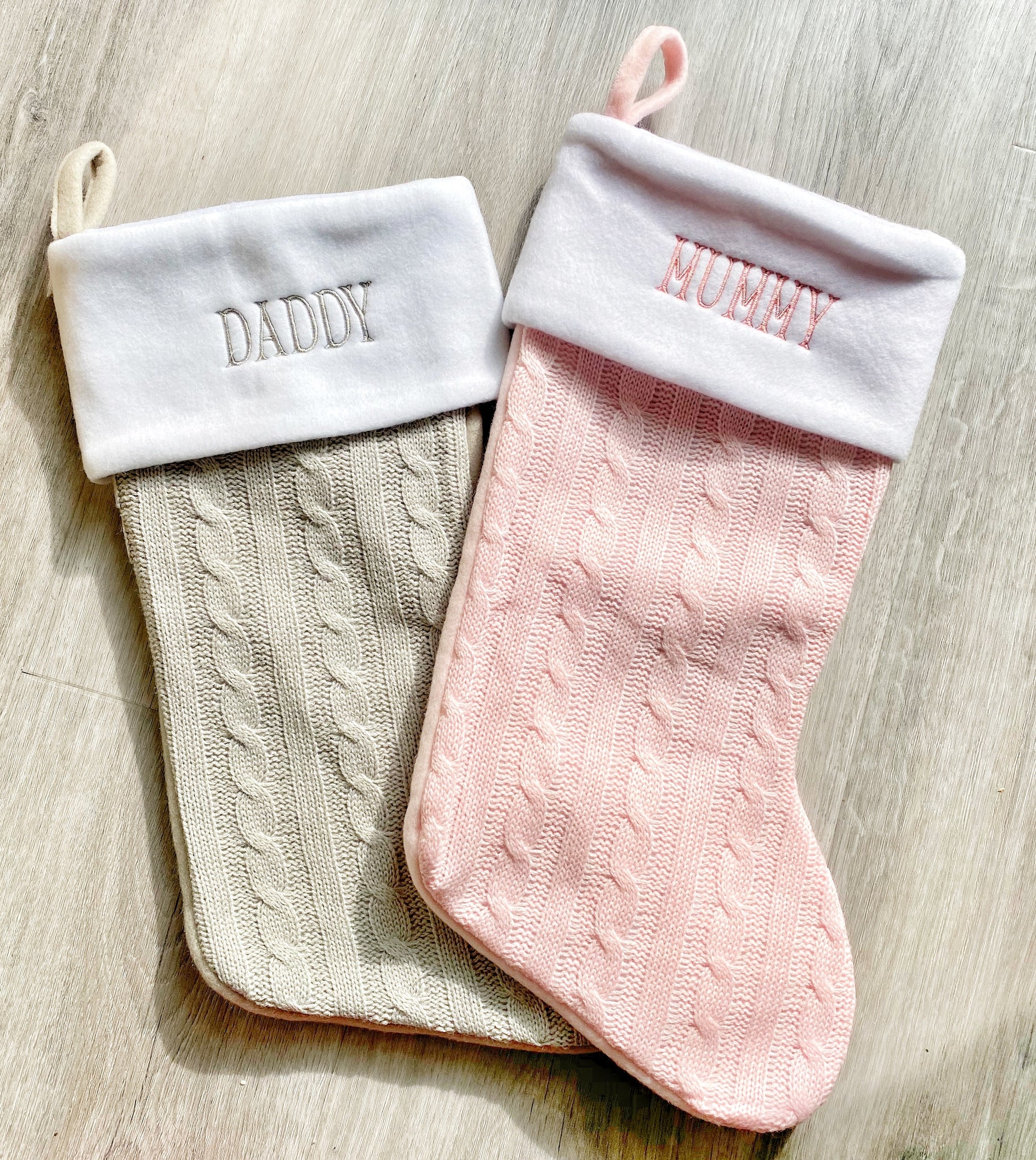 Pink or Grey Embroidered stocking