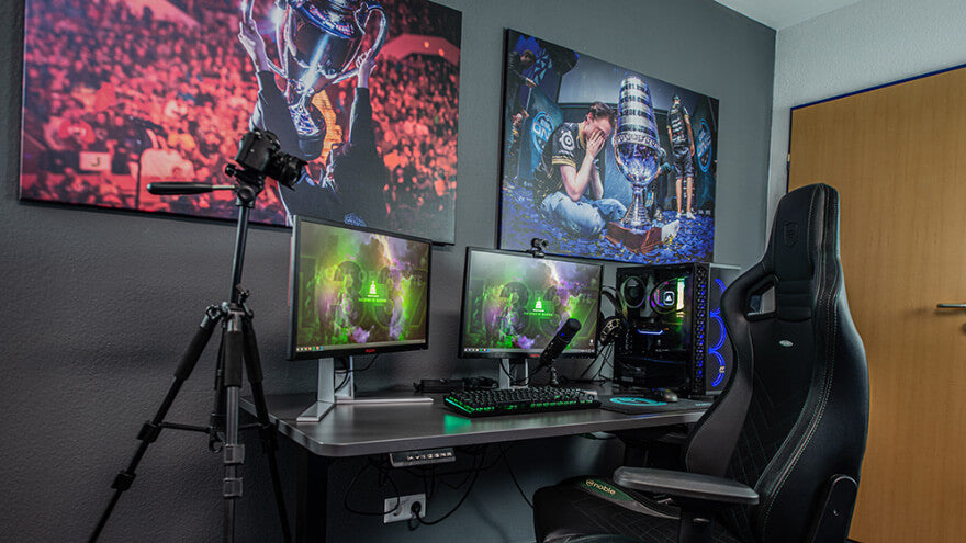 A gaming room with a video game themed setup