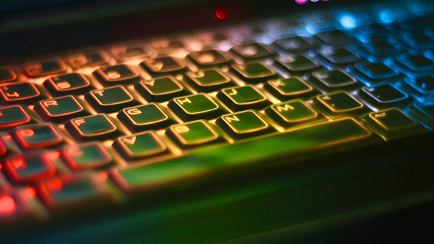 A gaming keyboard with rainbow colors