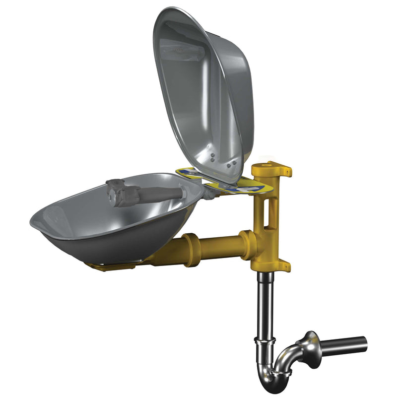 Bradley S19224DCPT Eyewash, Stainless Steel Bowl & Dust Cover, Tailpiece & P-Trap