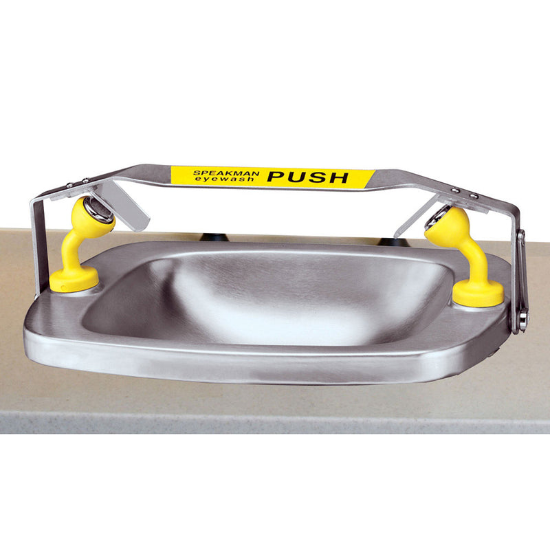 Speakman SE-565 Rectangular bowl eyewash, Counter top mounted, SS bowl, trigger bar activated