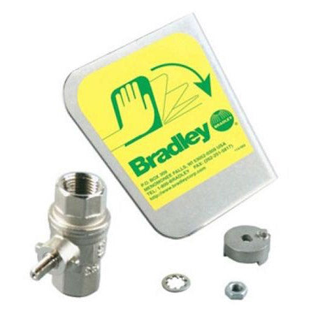 "Bradley S30-074 Stainless steel handle with 1/2"" NPT stay-open ball valve and hardware - left hand activation kit"