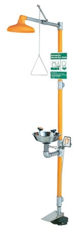 Guardian G1950HFC Safety Shower with Eye/Face Wash Station, Hand/Foot Control, Stainless Bowl