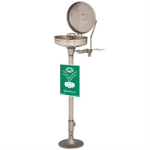 Haws 7777 Pedestal Mount Eyewash Station With Face Spray Ring And Dust Cover