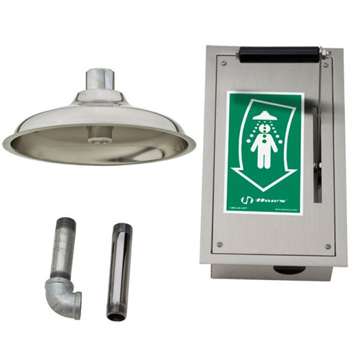 Haws 8164 Ceiling-Mounted Drench Shower In Recessed Stainless Steel Cabinet