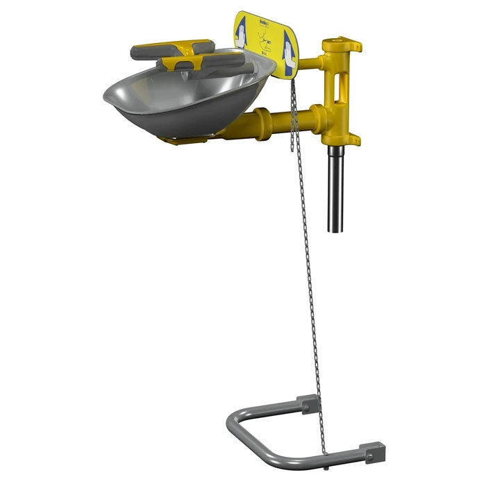 Bradley S19224Y Eye-Face Wash, Stainless Steel Bowl, Hand/Foot Operated