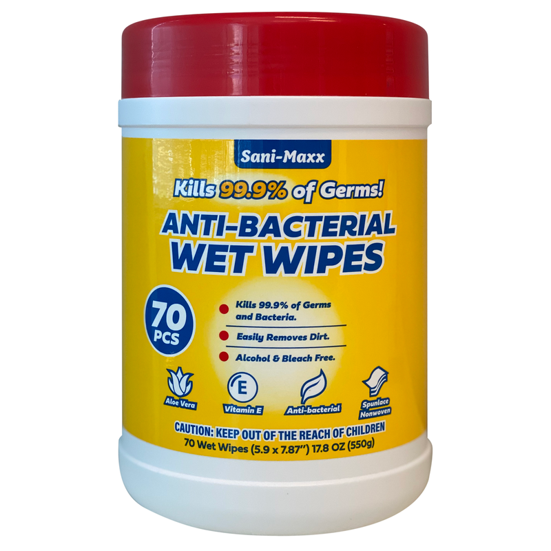 Sani-Maxx Antibacterial Multi-Purpose Cleaning Wipes, Kills 99.9% of Germs, 70 Wipes/Pack, 12 Packs/Case