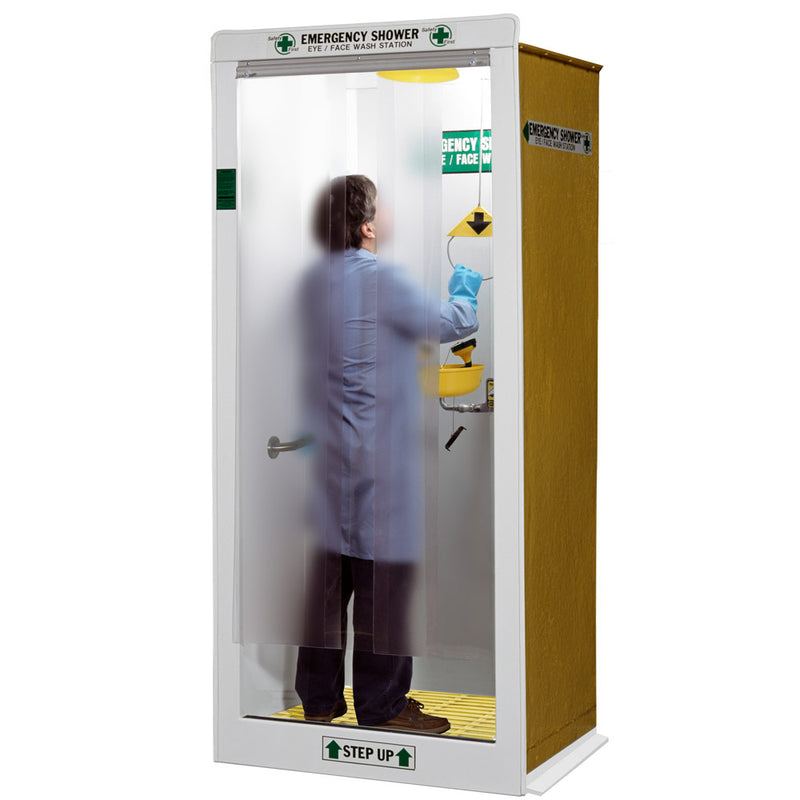 Hemco 16601 Laboratory Emergency Shower Decontamination Booth, Non-Finished Exterior Side Panels