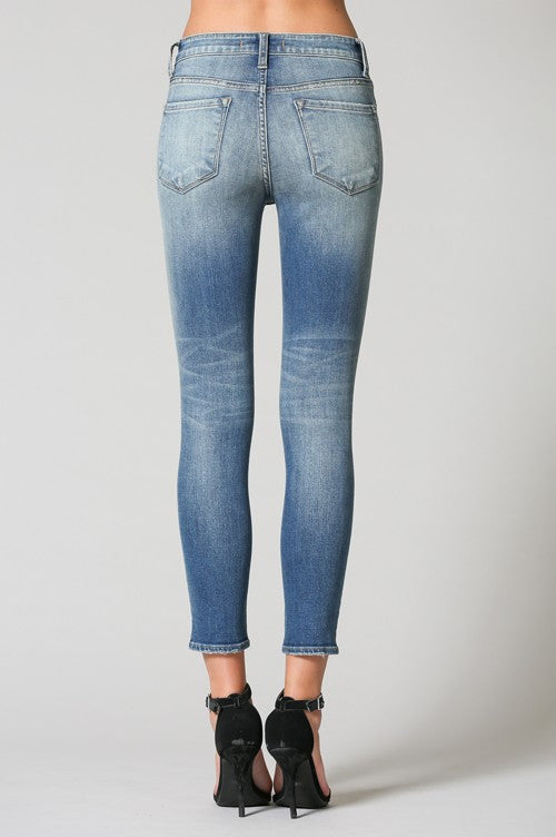 Flying Monkey Mid Rise Distressed Crop Skinny Jean - Blue Blossom Y2767