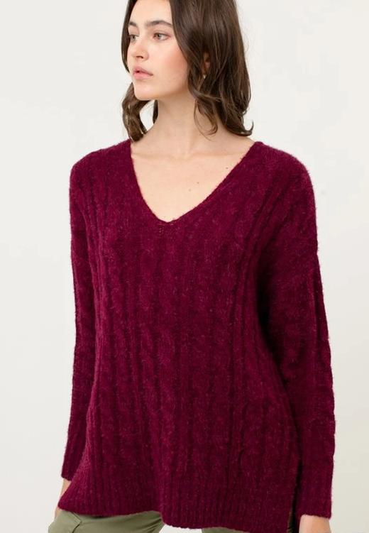 V Neck Cable Sweater (more colors)