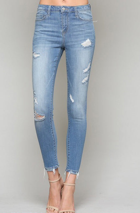 Vervet High Rise Distressed Crop Skinny Jean