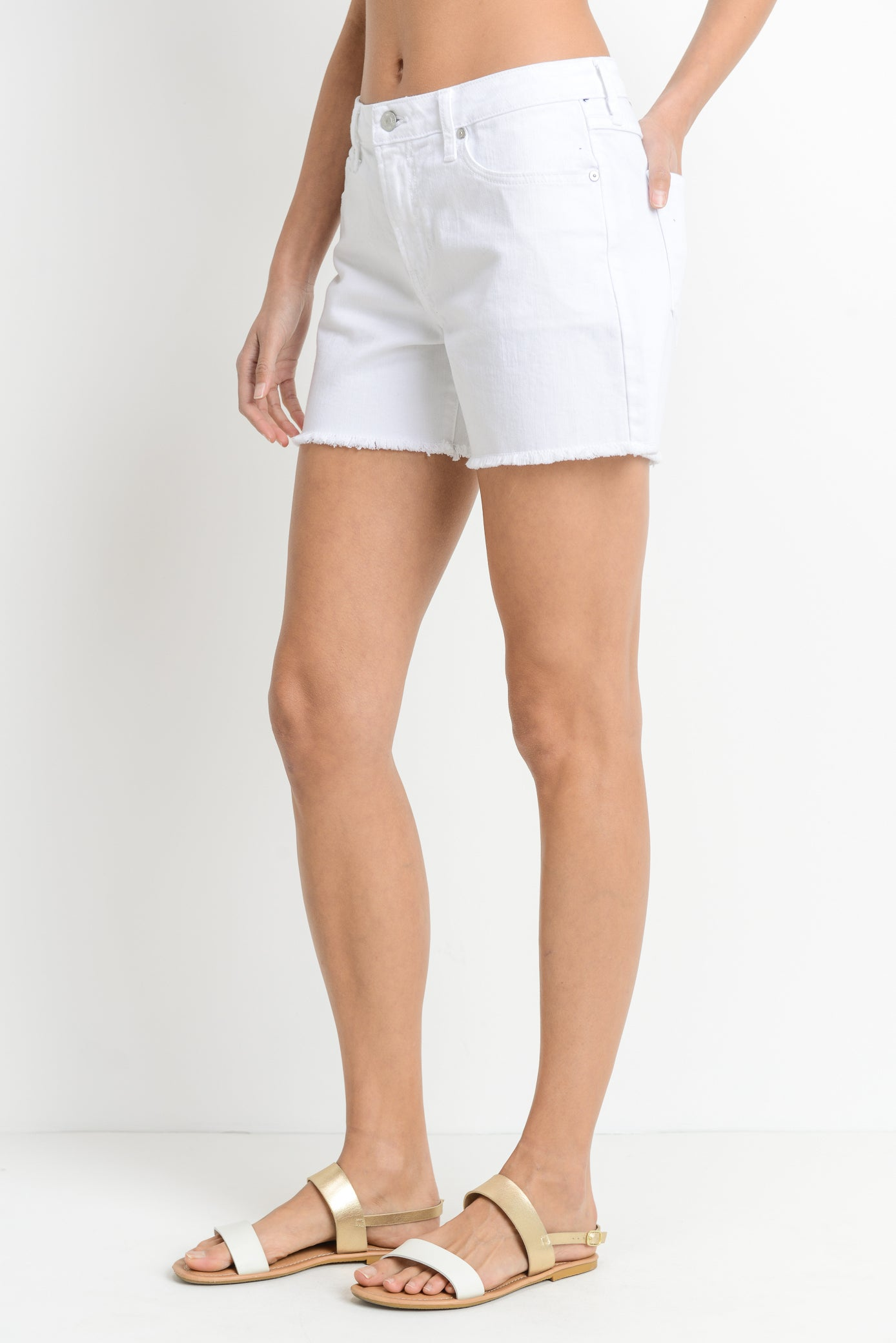 Just Black WhiteHigh Rise Frey Hem Shorts BH140J-A