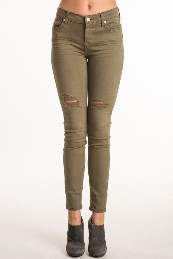 7 For All Mankind The Ankle Skinny Olive Jean