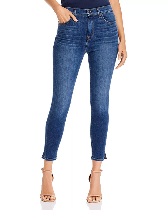 7 For All Mankind Hi Waist Ankle Skinny Slit Hem Jeans in Mohawk River AU8670005