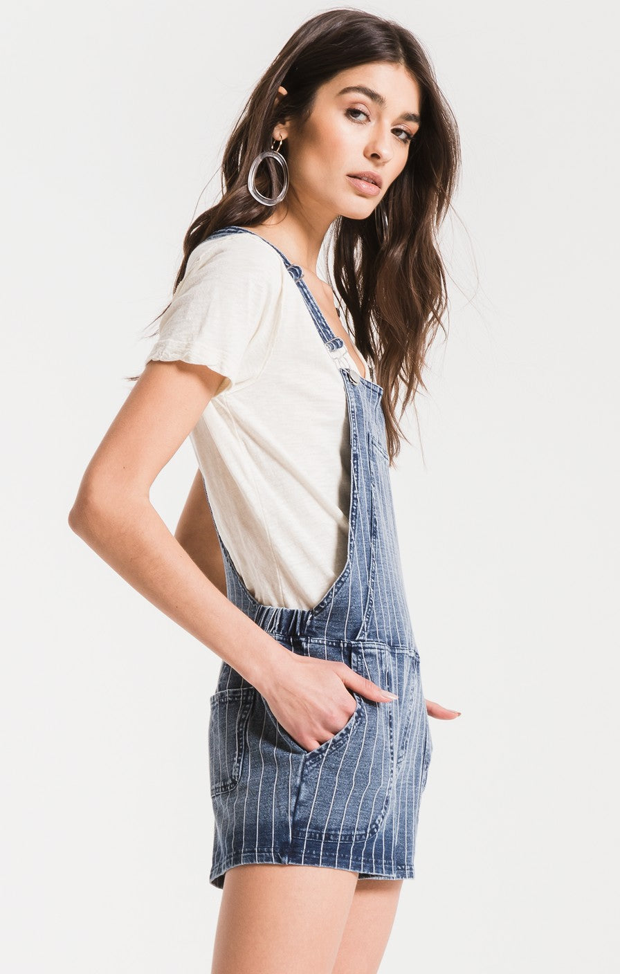 Z Supply Knit Denim Short Overall