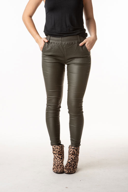 Olive Vegan Leather Pants