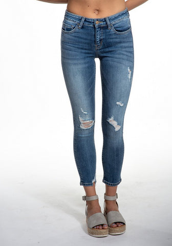 Flying Monkey Mid Rise Distressed Crop Skinny Jean - Strangers Y2914