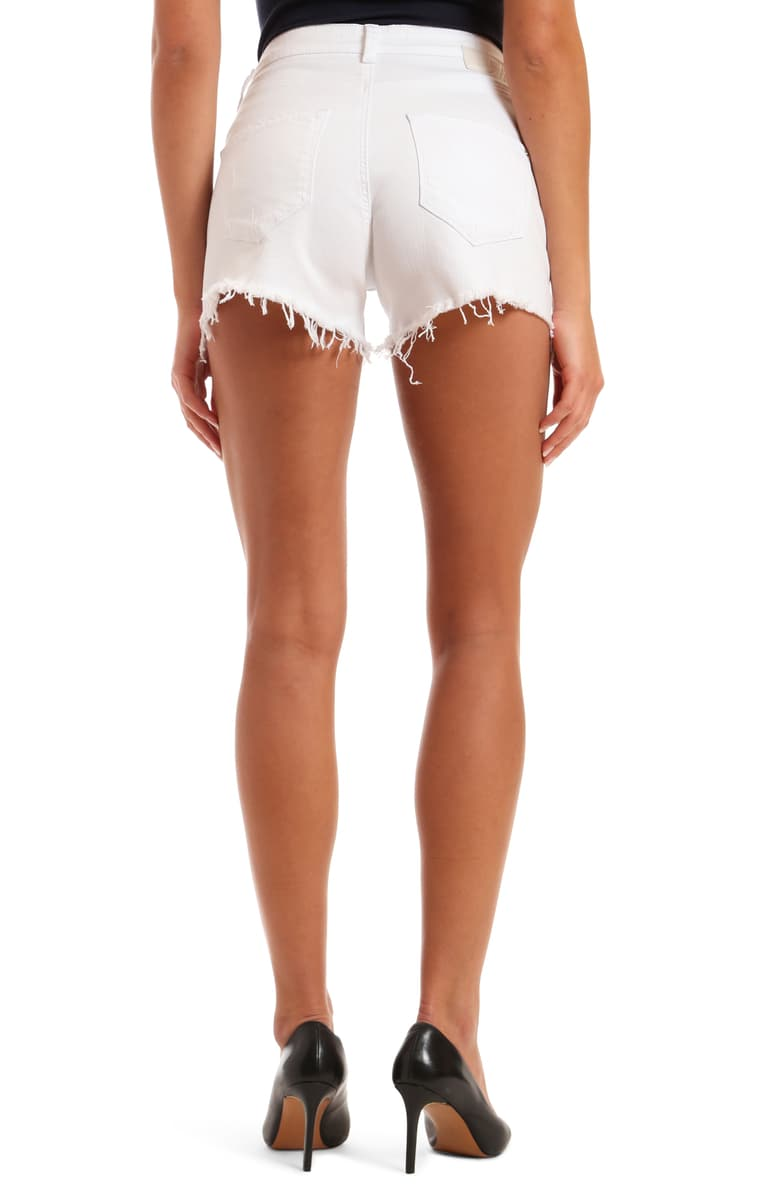 Mavi Rosie Hi Rise White Ripped Stretch Jean Short 1447423818