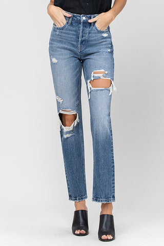 Vervet Super Hi Rise Distressed Straight Jean in Destroyed T5034