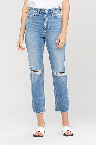 Vervet Super Hi Rise Distressed Hem Slim Straight Jean VT1176