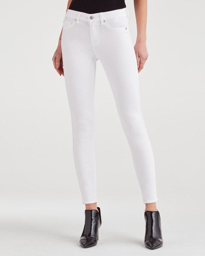 7 For All Mankind The Skinny Ankle Length Jean - White AU035616A-CLW