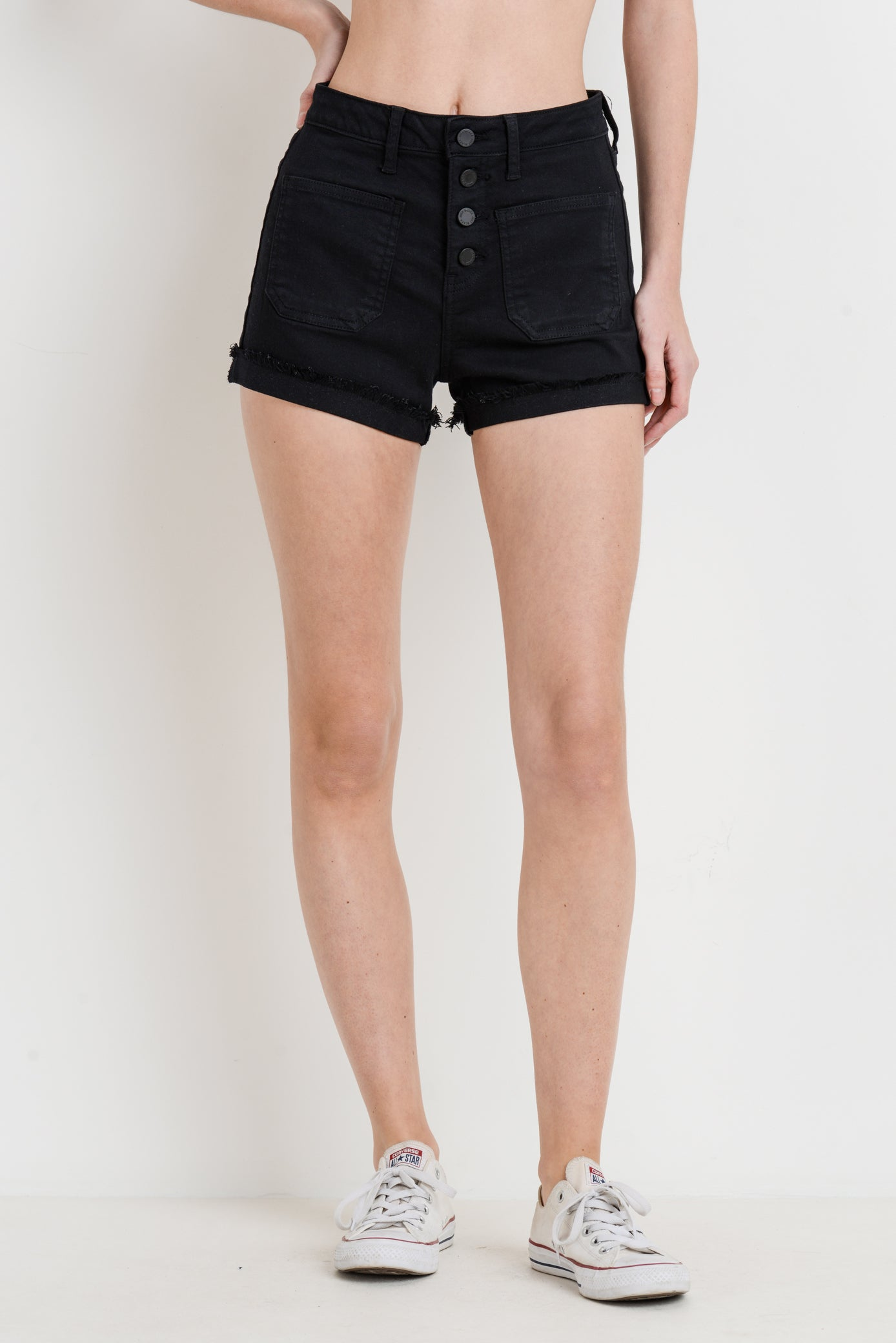 Just Black High Times Black Shorts BH213J