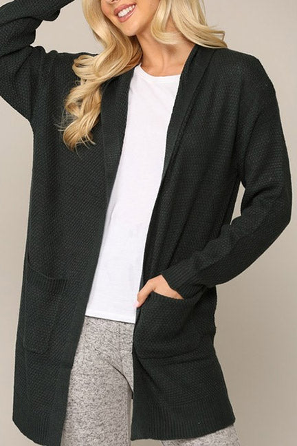Ava Hooded Open Cardigan with Pockets