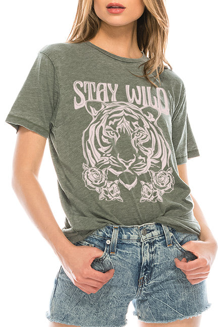 Bella Closet Tees Stay Wild, Tiger Face Tee 1081-P4595