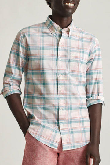 BONOBOS Washed Pink Willow Plaid Slim Fit 27757-P0186