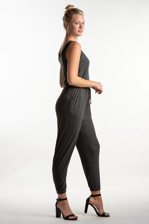 Olivia Sleeveless Drawstring Pocket Jumpsuit