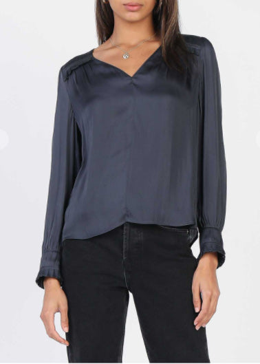 Elena Pleated Picot Stitched Satin Blouse