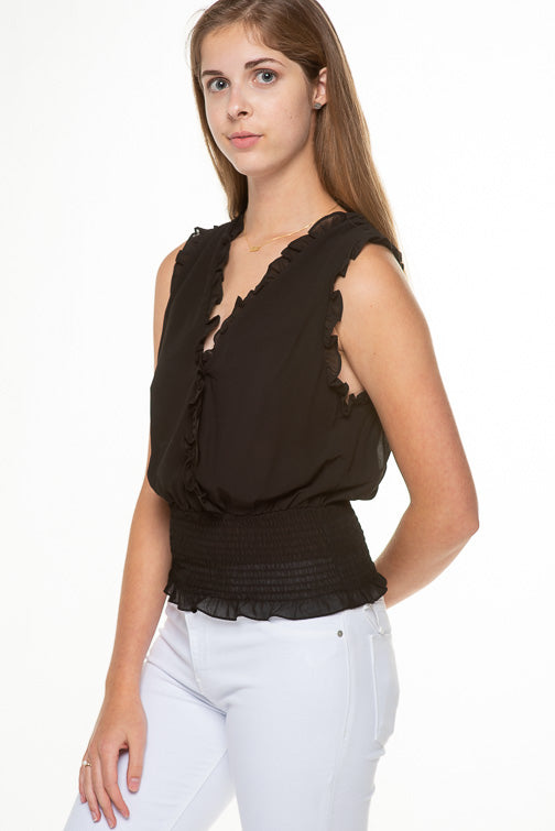 Ruffled Sleeveless X-Over Top Y18911